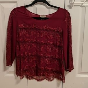 Burgundy wine colored lace blouse size S